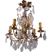 French Antique Gilt Bronze & Crystal Chandelier or Hanging Lamp