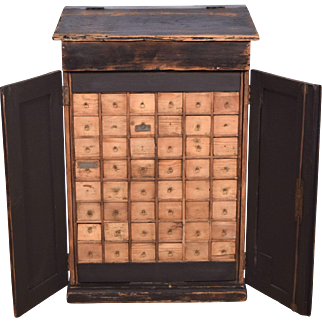 Antique Industrial/Commercial Kiosk/Lectern/Parts Cabinet with 48 Drawers