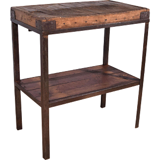 Industrial Antique French Butcher Block/Table/Island