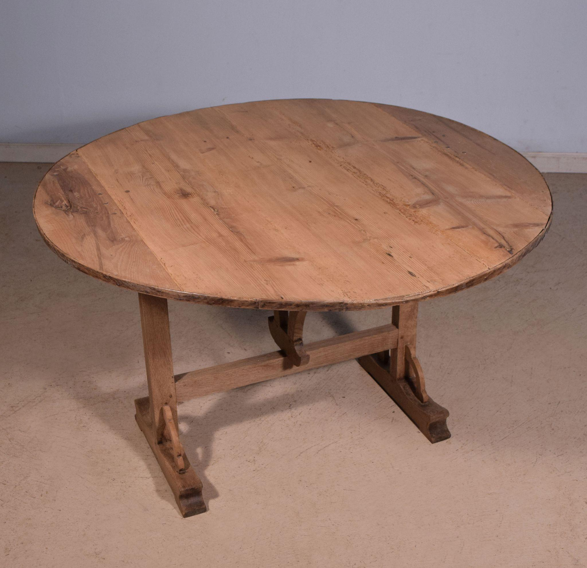 Antique French Wine Tasting Table Side Table with Tilt Top in Oak