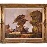 Signed Oil on Canvas Painting of a Flemish Farm House with Gilt Frame