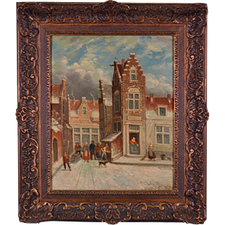 Antique Signed Oil on Panel Painting by J. Peypers (1871-1950) Haarlem Cityscape