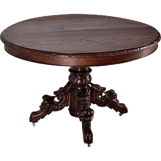 Antique French Hunting/Black Forest Table in Highly Carved Oak