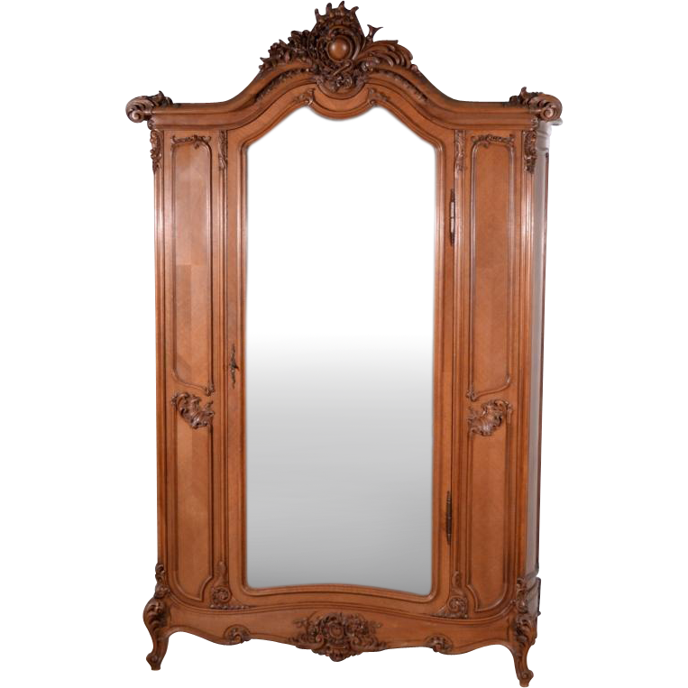 Louis XV Rococo Antique French Bombe Style Armoire Wardrobe in Walnut from ye -> Armoire Style Baroque