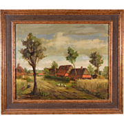 Signed Oil on Canvas Landscape by Ramond Van Hoeck (1922-1992)