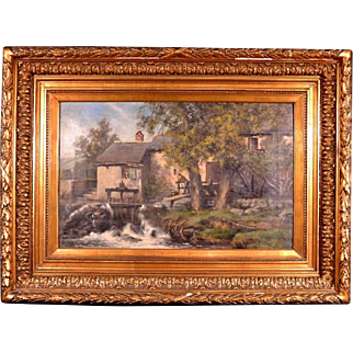 Oil on Canvas Painting Signed Dated 1892 Forest Mill Waterfall Scene