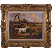 Signed Oil on Canvas Painting of a Hunter w/Two Retriever Dogs by A. Parmentier