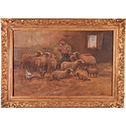 Antique Oil on Canvas Painting of a Farmer & Sheep by Paul Schouten (1860-1922)
