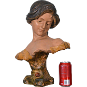 Antique Bust of a Beautiful Woman Terra Cotta Statue Figurine