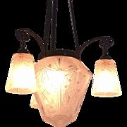 Muller Freres Luneville Art Deco Chandelier (Antique French Hanging Lamp)