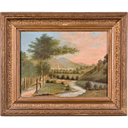 French Antique Landscape Oil on Panel Painting