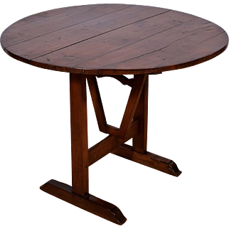 Antique French Wine Tasting Side Table with Tilt Top in Solid Walnut