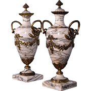 """Antique French Louis XVI Gilt Bronze & Marble Urns/Vases with Snakes 19"""" XXL"""