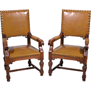 1700's Antique French Leather Upholstered Chairs Renaissance Style Armchairs