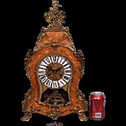 Vintage Louis XV Rococo Wood & Bronze Mantel Clock Hermle FHS Clockworks