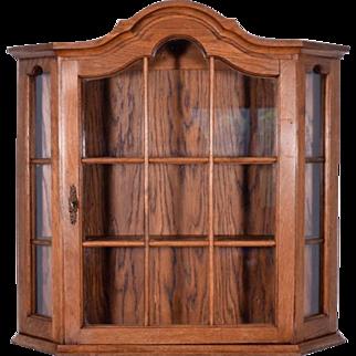 Vintage Dutch Oak Wall Display Cabinet Antique Medicine/Curio Cabinet