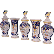 Vintage Rouen Tin Glazed Faience Cabinet Set of Vases & Baluster Jars/Urns