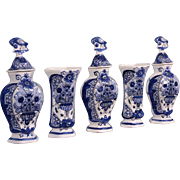 Antique Delft Tin Glazed Faience Cabinet Set of Vases & Baluster Jars/Urns