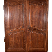 "60"" Tall Pair of Antique French Provincial Oak Wood Doors 1700's/Louis XV Period"