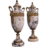 "16"" Pair of Antique French Neoclassical White Marble & Bronze Urns"