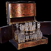 French Napoleon III Antique Boulle Tantalus/Liquor Cabinet