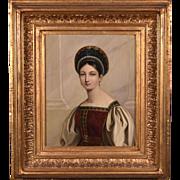 Antique Oil on Copper Portrait Painting of a Russian Princess