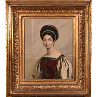 Antique Oil on Copper Portrait Painting of a Russian Princess