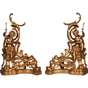 Antique French Gilt Bronze Chenet/Andirons/Fireplace Decorations with Cherubs