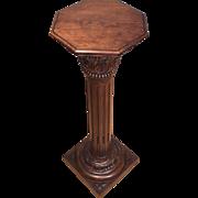Antique French Corinthian Display Pedestal/Plant Stand or Pillar/Column in Oak