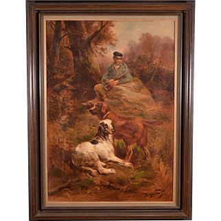 Antique Oil on Canvas Painting of Hunter and Dogs by Henry Schouten (1864-1927)