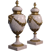 """17"""" XL Antique French Louis XVI Gilt Bronze & Marble Urns/Vases with Goats"""