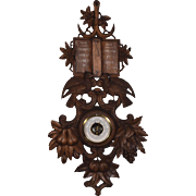 """36"""" Tall Antique Black Forest Barometer Weather Station in Solid Walnut"""