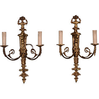 Large Pair of Antique French Louis XVI Style Bronze Wall Sconces/Candelabra
