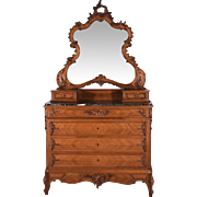 Antique French Louis XV Style Rococo Marble Top Commode/Dresser in Walnut