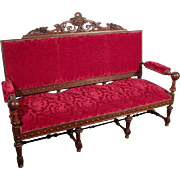 French Renaissance Revival Style Upholstered Settee Henri II Wood Framed Sofa