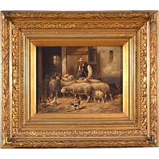 Artist Signed Oil on Panel Classic Belgian Barn Pastoral w/ Sheep and Chickens