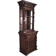 Antique French Renaissance Revival Display Cabinet/Bookcase in Oak