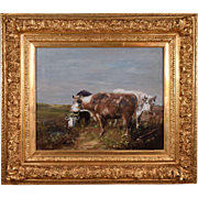Antique Oil on Canvas Painting of Three Cows by Henry Schouten (1864-1927)