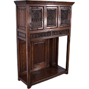 French Antique Gothic Revival Cabinet/Console/Sideboard, Highly Carved in Oak