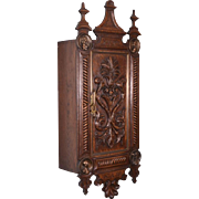Antique Dutch Renaissance Wall Cabinet for Pipes in Oak with Bronze Portraits