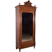 Louis XVI Antique French Armoire/Wardrobe/Bookcase in Walnut