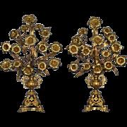 """24"""" French Antique Girandole Tole Church Flower Ornament in Gilt Bronze"""
