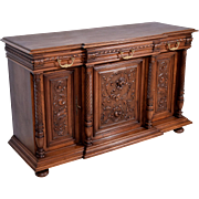 Antique French Highly Carved Renaissance Revival Sideboard/Buffet in Walnut