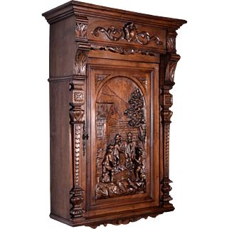 Antique French Wall Cabinet in Walnut w/Highly Carved Door Bocce Ball Scene