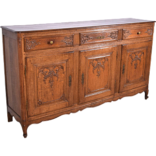 Antique French Provincial/Louis XV Style Sideboard/Buffet In Solid Oak
