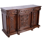 Antique French Gothic Revival Sideboard/Buffet in Walnut