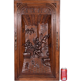 French Antique Highly Carved Panel/Door in Walnut Wood w/ Bar/Tavern Scene