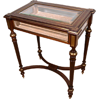 French Antique Louis XVI Style Display Table Mahogany Inlaid with Boulle Bronze