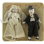 Vintage Miniature Bride and Groom Dolls on Original Card