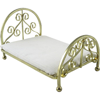 Ornate Brass Doll Bed with Mattress